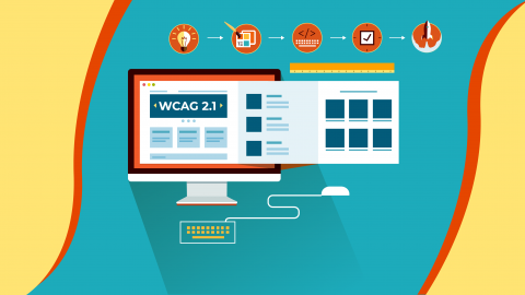 vector of a computer screen with WCAG guide on it