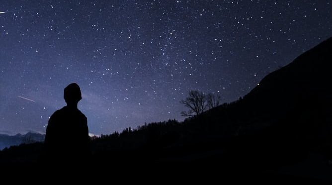 Silhouette of man looking up at milky way