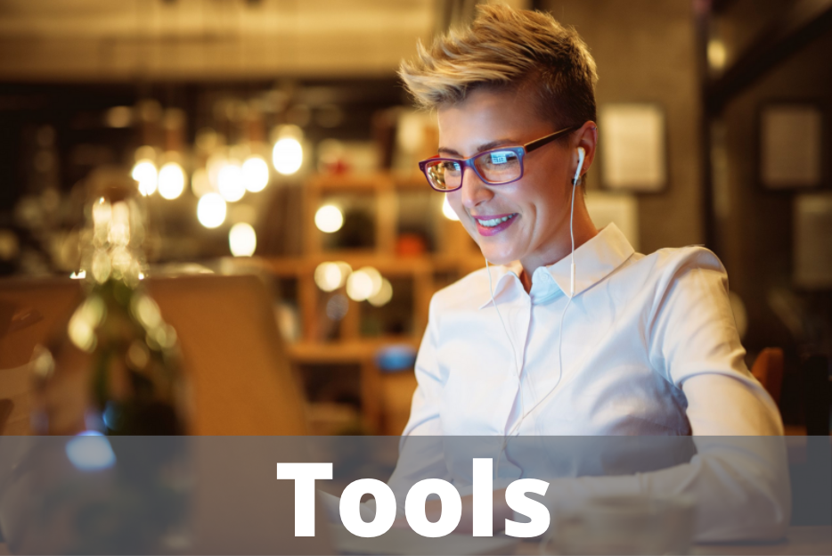 """Tools"" button with background image of woman working at computer"