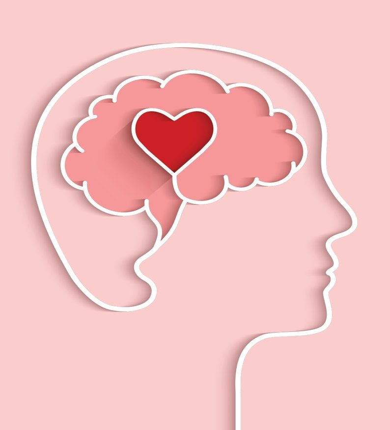 Drawn outline of a side profile with a heart drawn in the brain