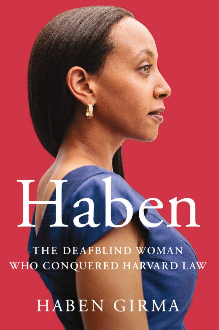 Haben book cover - a red background with a woman's side profile