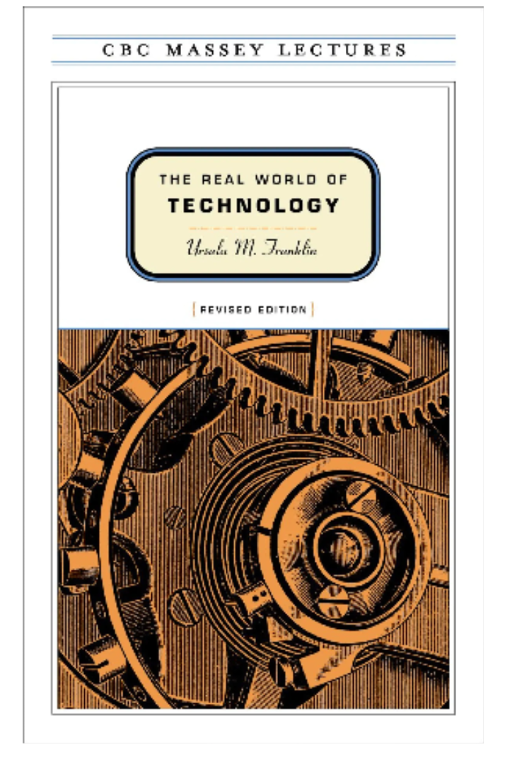 Book cover of the real world of technology with a sketch of turning cogs