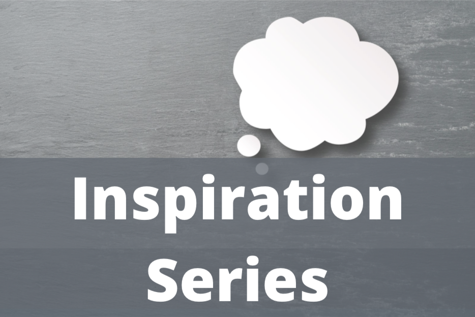 The word 'inspiration series' on a thought bubble background