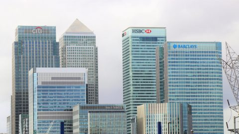 a skyline of tall bank buildings
