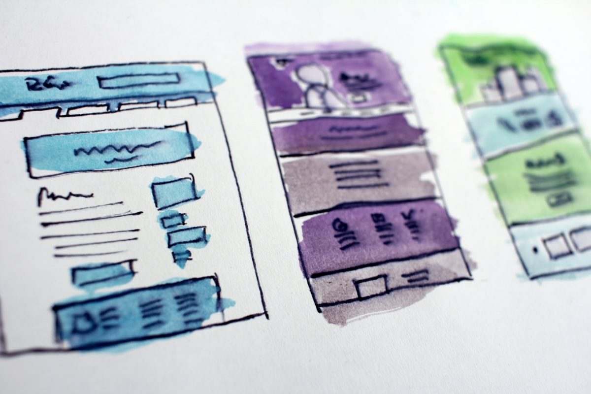 hand drawn scaffolds of a website interface