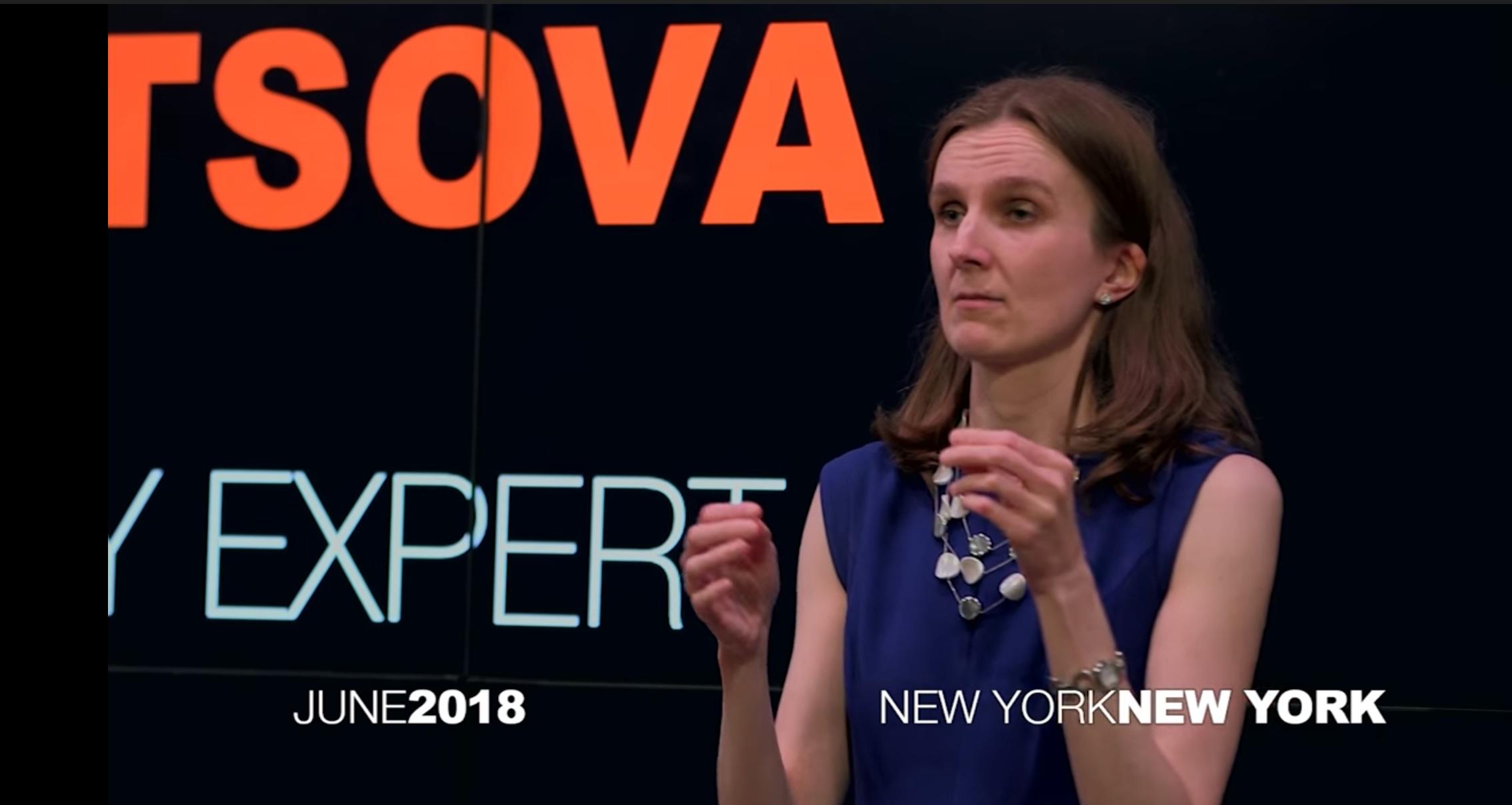 Svetlana using sign language at her Ted Talk